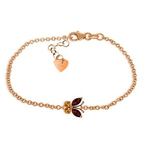 GOLD BUTTERFLY BRACELET WITH GARNETS & CITRINES